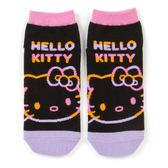 〔小禮堂〕Hello Kitty 成人及踝襪《黑紫.大臉》腳長23-25cm.短襪.棉襪 4901610-19935