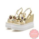 楔型涼鞋 水鑽寶石交叉帶 厚底涼鞋*KWOOMI-A51