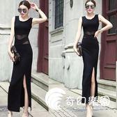 洋裝禮服-夏裝新款透視網紗露腰拼接連衣裙修身顯瘦包臀長裙女-奇幻樂園