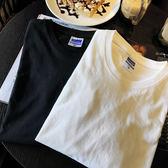 【天天】純色圓領長袖打底T恤棉TEE黑白