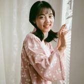 八月格桑春夏女棉質紗布睡裙七分袖中裙 寬鬆日式和服大碼家居服【寶貝開學季】