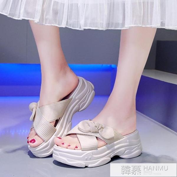 蝴蝶結鬆糕厚底交叉拖鞋女2021夏季新款外穿時尚百搭增高網紅涼拖 夏季新品