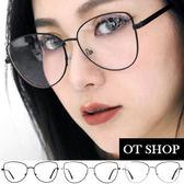 OT SHOP眼鏡框‧簡約中性貓眼貓框造型復古時尚穿搭修飾臉型平光眼鏡‧黑/銀/金‧現貨三色‧U69