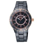 NATURALLY JOJO 經典魅力時尚陶瓷腕錶-玫瑰金X黑-JO96974-88R