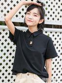 黑色短款T恤女夏短袖2018新款韓版學生港風polo衫女可愛刺繡