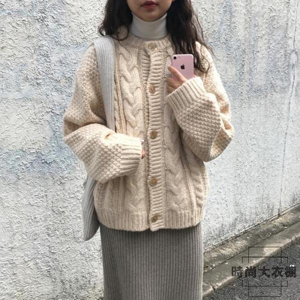 針織開衫外套毛衣女秋冬寬鬆外穿麻花復古【時尚大衣櫥】