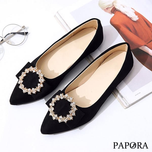 PAPORA閃亮晶鑽娃娃平底包鞋KQ2263黑/杏(偏小)