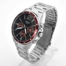 CASIO手錶 質感酒紅三眼鋼錶NECE49