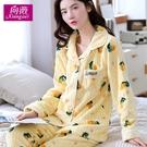 韓版秋冬季女士長袖珊瑚絨睡衣可愛大碼春秋款加厚保暖家居服套裝 小山好物