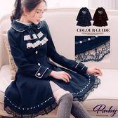 外套 露比設計古典音符蕾絲美背綁帶毛呢大衣外套-Ruby s 露比午茶