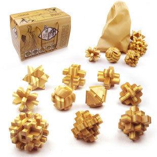 高檔竹制精品禮盒套裝孔明鎖成人益智智力玩具魯班鎖十件套