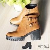 短靴 雙扣飾厚底短靴 MA女鞋 T3183