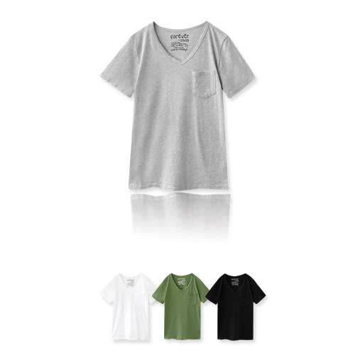 MIUSTAR 正韓‧水洗棉後印字V領單口袋短袖上衣(共4色)【NF0503RE】預購