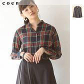 天絲棉 格紋襯衫 格子襯衫女 上班族 現貨 免運費 日本品牌【coen】
