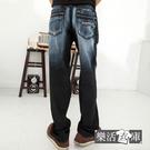 造型口袋刷白伸縮中直筒牛仔褲@樂活衣庫【P112】