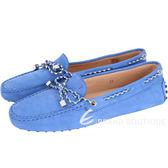 TODS Gommino Driving 撞色編織綁帶豆豆休閒鞋(藍色) 1610066-23