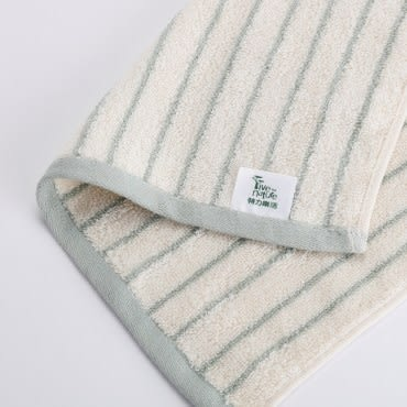 有機棉簡約條紋方巾-忘幽藍