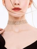 脖子上的綁帶韓國網紅項鍊鎖骨鍊女頸鍊短款脖鍊頸帶項圈choker鍊