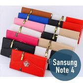 SAMSUNG 三星 Note 4 拉鍊錢包山茶花皮套 插卡 側翻 手包 手機套 手機殼 保護套 配件