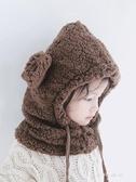 兒童帽子秋冬季潮女寶寶套頭護耳圍脖男童幼兒一體毛絨保暖嬰兒帽    東川崎町