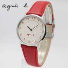 【萬年鐘錶】agnes b. 法式簡約時尚風 腕錶 銀x米白  33mm 7N00-0BC0R (BG4005P1)