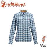 【Wildland 荒野 女 彈性抗UV格子長袖襯衫《湖水藍》】0A71203/登山休閒服/快乾機能衣
