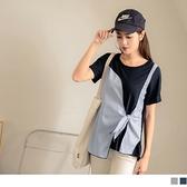 《AB13517-》假兩件條紋拼接綁帶短袖上衣 OB嚴選