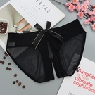 丁字褲 性感鏤空可愛蝴蝶結透明超薄網紗熟女免脫開襠三角內褲-Ballet朵朵