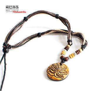 藏飾項鏈犛牛骨桃木護身