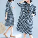 棉麻 格紋襯衫領口袋裝飾洋裝-大尺碼 獨具衣格