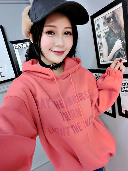 克妹Ke-Mei【AT57440】MAYTHEBRID歐美妞字母厚刷毛抽繩連帽T恤洋裝