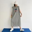 長版t 826#夏季新款 懶人裙灰色人物小黃領灰色休閑長裙連身裙潮NC417 韓依紡