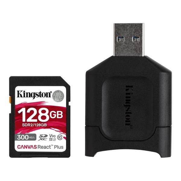 【附讀卡機】金士頓 Kingston Canvas React Plus SDXC-128Gb 高速記憶卡 300MB/s UHS-II U3 V90 公司貨 128g