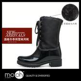 雨靴 保暖雪地拉鍊雨天拼接防水中筒雨鞋-黑色 mo.oh(歐美鞋款)