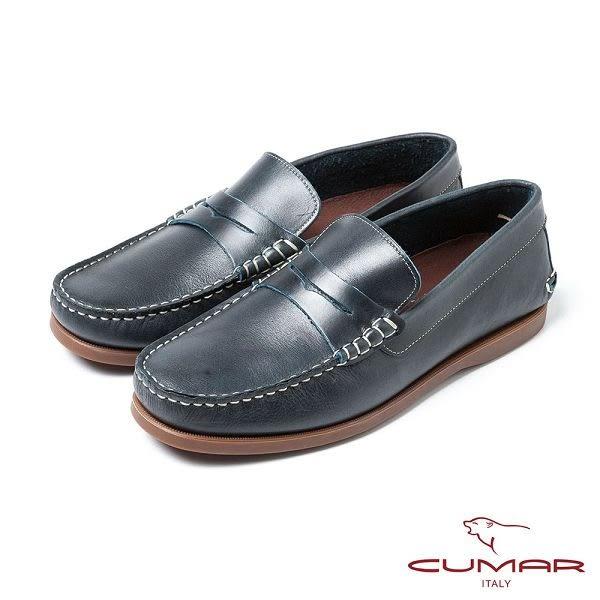 CUMAR男鞋  嚴選牛皮樂福鞋-藍