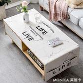 北歐茶幾桌布客廳長方形餐桌布仿大理石紋棉麻家用茶幾墊蓋布 莫妮卡小屋