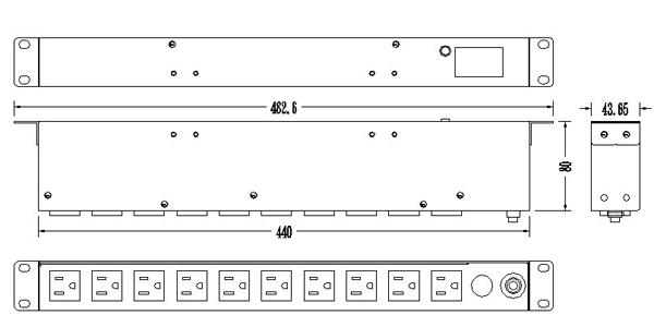 10孔20安培 LCD電錶 機架型排插 (SPM-2012-10)