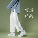 hiphop垂感褲子高街ins潮牌韓版潮流運動褲男夏季白色闊腿休閒褲 設計師