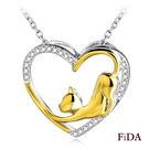 純銀項鍊 俏皮喵星人鍍金鑲鋯鑽 925純銀短項鍊 -FiDA
