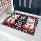 招財貓地墊入戶門墊絲圈除塵腳墊防滑耐磨塑料廚房防油地毯  快速出貨
