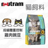 Nutram 紐頓 專業理想系列 I12體重控制貓雞肉碗豆 1.8kg X 2