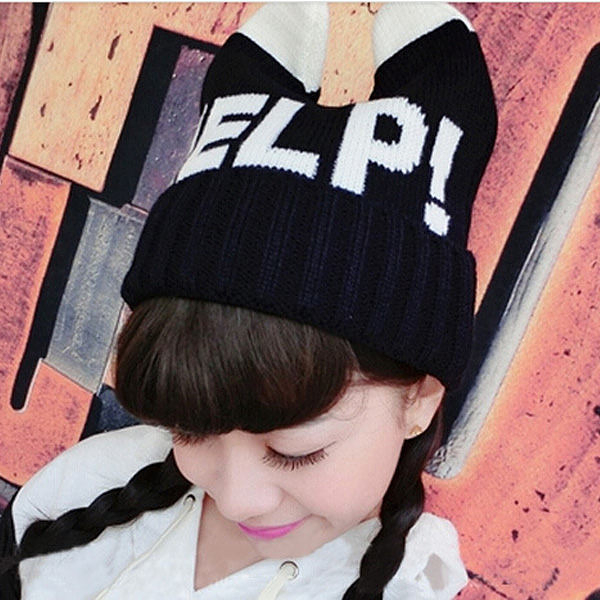 HELP字樣可愛牛角造型毛帽   【櫻桃飾品】【21584】