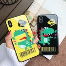 【SZ24】iPhone X手機殼全包玻璃鏡面蘋果7可愛卡通鳄魚6s/6plus保護套硬