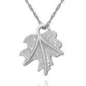 項鍊 925純銀鑲鑽吊墜-潮流楓葉生日情人節禮物女飾品73dk180【時尚巴黎】