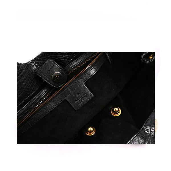 【GUCCI】限量莽蛇皮流蘇手提包(黑色) GU12000098