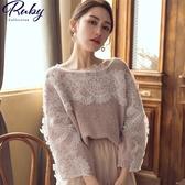 上衣 RCha。蕾絲鉤花寬版針織長袖上衣-Ruby s 露比午茶