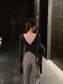 長袖T恤女2021秋冬新款修身蝴蝶背設計感chic性感露背上衣打底衫寶貝計畫