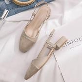 新款仙女風粗跟方頭單鞋