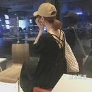 洋裝夏裝女裝正韓小V領後交叉帶露背娃娃裙短袖中長版連身裙長裙黑色洋裝