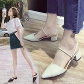 半拖鞋外穿2018夏新款韓版網紅百搭尖頭粗跟中跟一字帶兩穿涼鞋女『小淇嚴選』